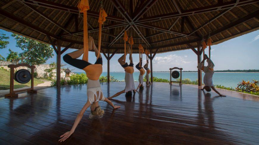 Swept off our feet by AntiGravity Yoga at Bali's Four Seasons Jimbaran Bay